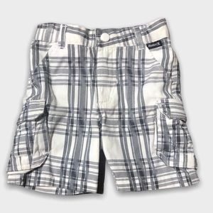 Hurley White With Gray Stripes Cotton Shorts